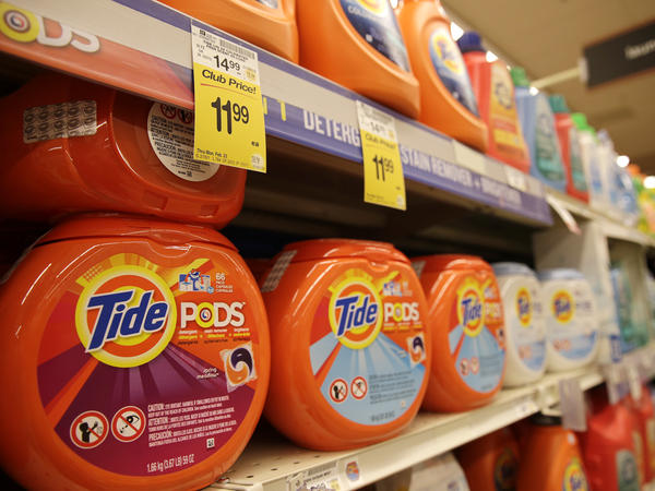 Tide detergent pods, from Procter & Gamble, are seen at a Safeway store in Wheaton, Md., in 2015. The pace of poisonings in the so-called Tide Pods Challenge is continuing to grow.