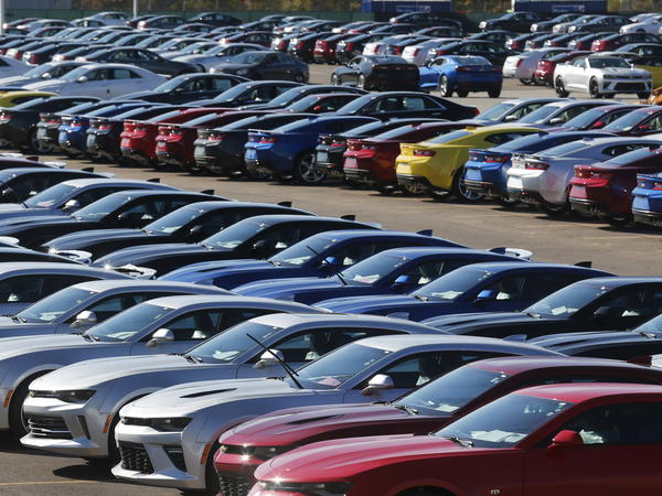 Chevrolet Camaros are lined up at General Motors' Lansing Grand River Assembly Plant in Michigan in 2015. Automakers in the U.S. say if costs go up as a result of a renegotiated NAFTA, they would be less competitive.