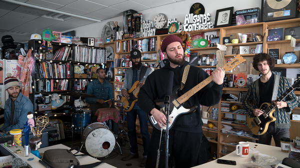 Nick Hakim performs a Tiny Desk Concert on Dec. 13, 2018 (Jennifer Kerrigan/NPR).