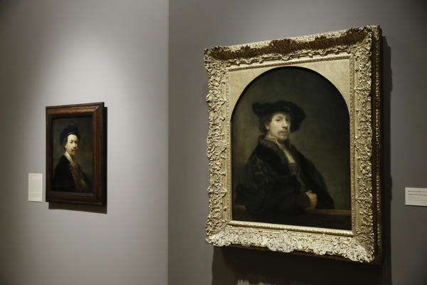 Two self-portraits by Rembrandt, painted two years apart, are on display at the Norton Simon Museum in Pasadena, Calif.