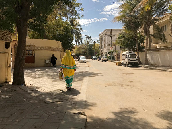 A woman walks through a neighborhood in Karachi where many members of the Bohra religious sect live. She wears the distinctive outfit of female Bohras: a long headscarf with a bonnet-style headpiece and long, matching skirt.