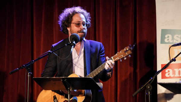 House musician Jonathan Coulton peforms on Ask Me Another at the Bell House in Brooklyn, New York.