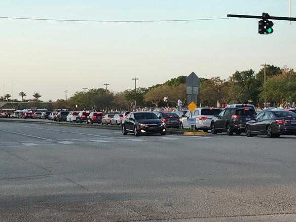 Traffic was heaving Thursday morning as parents dropped off students. But there were no therapy dogs and large crowds of well-wishers on the second day back.