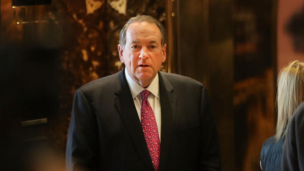 Mike Huckabee arrives at Trump Tower in New York on Nov. 18, 2016. Huckabee quickly resigned within 24 hours of an appointment to the Country Music Association Foundation after an outcry from the country music community.
