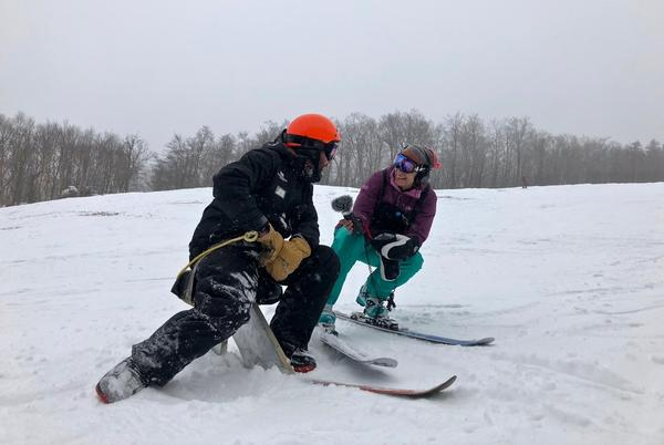 Vermont Public Radio reporter Nina Keck, a lifelong skier, took her first jack jump lesson with Wasielewski at the Mount Snow resort in Vermont last week.