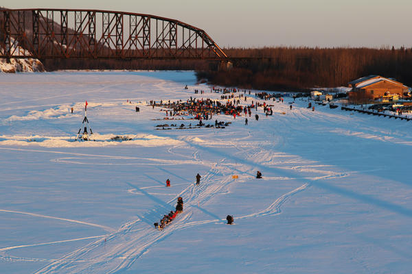 A team leaves the Nenana checkpoint in 2017. The Iditarod is a grueling journey over snowy mountains, icy rivers, and frozen tundra toward the tiny town of Nome on the Bering Sea coast. As the race has grown increasingly competitive in recent years, top teams make the trek in between eight and nine days.