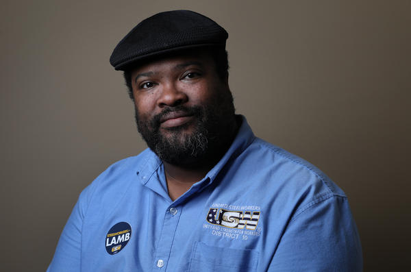 Jojo Burgess, a union worker from Washington, Pa., says he will vote for Democratic candidate Conor Lamb for Congressman, in Canonsburg, Pa., on Feb. 27.