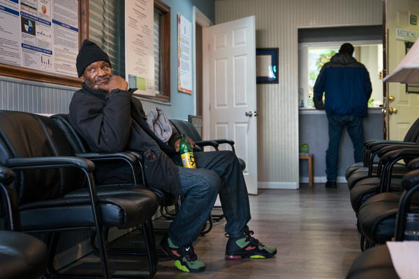 Gerald A. Goines Sr. sits in the waiting room of Chapman's clinic in Northeast Washington, D.C.
