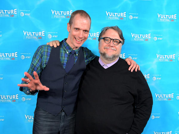 Actor Doug Jones, left, and director Guilermo del Toro attend the Vulture Festival LA Presented by AT&T in November. The two have worked together on a number of movies, including <em>Pan's Labyrinth</em> and <em>The Shape of Water</em>.