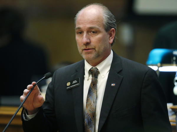 Colorado State Rep. Steve Lebsock during Friday's debate in the chamber on whether to expel him over sexual misconduct allegations from his peers.