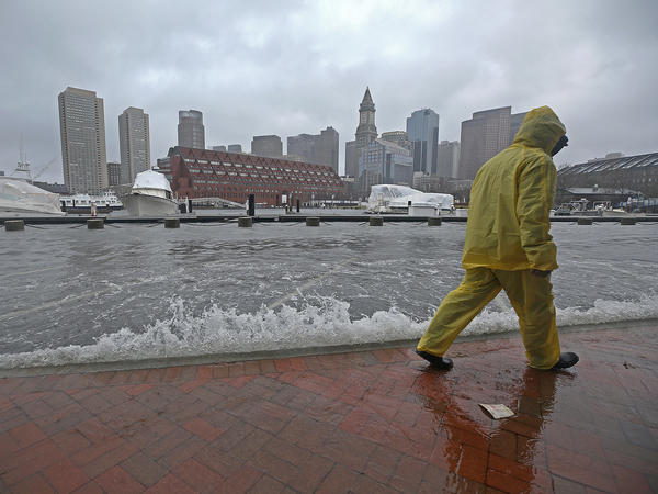 Flooding in Boston's North End during a nor'easter storm on Friday. A new government report suggests floods will become more common over the next century.