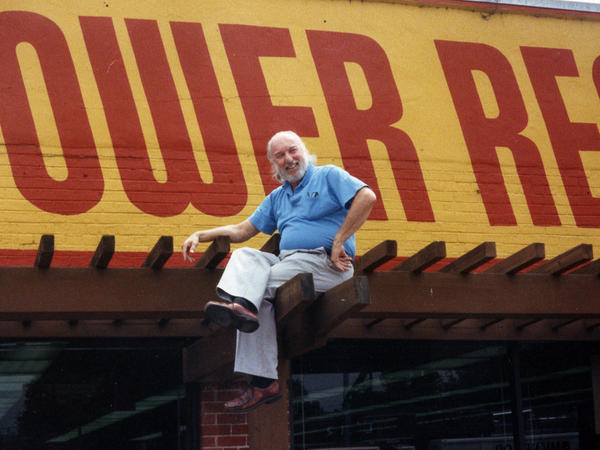 On top of the world: Tower Records founder Russ Solomon above his Sacramento, Calif., store in 1989