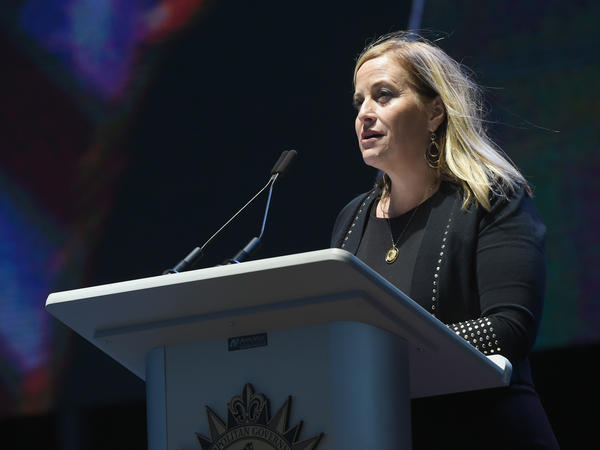Megan Barry, shown here at an event last year, resigned Tuesday morning from her position as mayor of Nashville, Tenn.