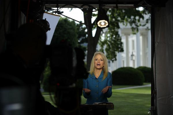 White House counselor Kellyanne Conway participates in an interview with CNN at the White House in May. Conway was reprimanded for mixing partisan politics with her official duties in TV interviews last fall.