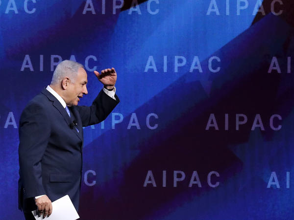 Israeli Prime Minister Benjamin Netanyahu addresses the American Israel Public Affairs Committee's annual policy conference on Tuesday.