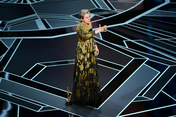 Actor Frances McDormand accepts Best Actress for 'Three Billboards Outside Ebbing, Missouri' onstage during the 90th Annual Academy Awards at the Dolby Theatre at Hollywood & Highland Center on March 4, 2018 in Hollywood, California.