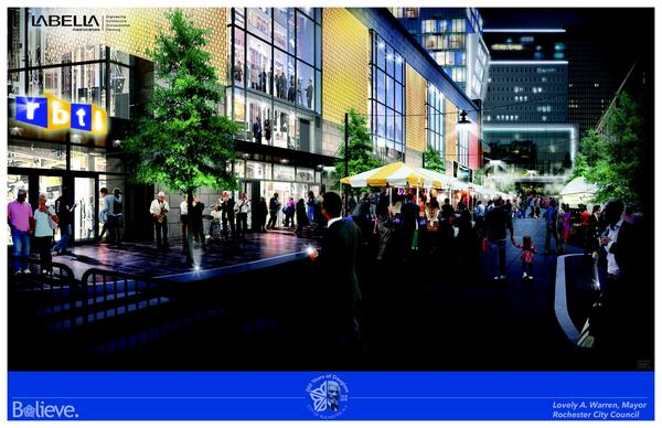 Rendering of the side view of the proposed Parcel 5 project