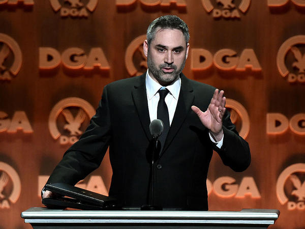 Director Alex Garland accepts the award for Outstanding Directorial Achievement of a First-Time Feature Film Director for <em>Ex Machina</em> at the 68th Annual Directors Guild Of America Awards at the Hyatt Regency Century Plaza on Feb. 6, 2016, in Los Angeles.