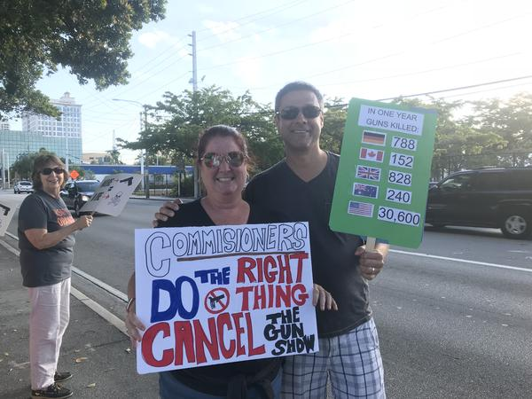 Fort Lauderdale residents joined Barbara Markley and Broward County teachers, to advocate for an end to the 30-year-running city gun show in Holiday Park.