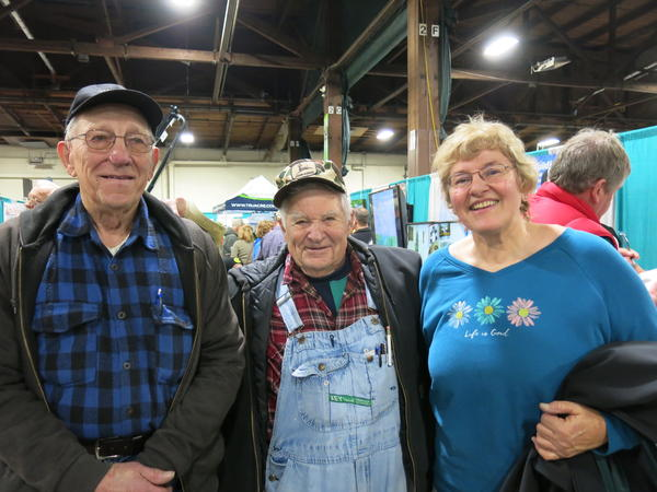 Friends went to the Quad Cities Farm Show together. From left, Richard Pahl & Bud White from Wilton & Nila Dahlin from Durant.
