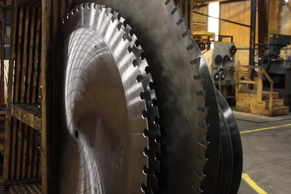 Some of the blades produced by Simonds International are 8 feet wide. They are used in the lumber industry.