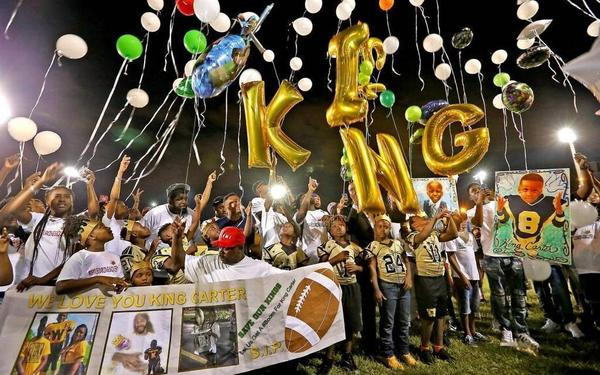 King Carter's family and friends mark the one-year anniversary of the 6-year old's death with a walk and balloon release at Charles Hadley Park on Monday, Feb. 20, 2017.