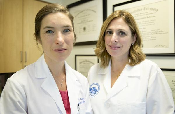Dr. Sarah Wakeman, left, and Dr. Laura Kehoe at Massachusetts General Hospital (Robin Lubbock/WBUR)