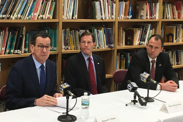 From left: Connecticut Gov. Dannel Malloy, U.S. Sen. Richard Blumenthal and East Hartford School Superintendent Nathan Quesnel (Anthony Brooks/WBUR)