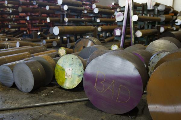 The word bad is written on the end of a machine grade bar of steel at the Pacific Machinery & Tool Steel Company on March 6, 2018 in Portland, Ore. President Trump announced he intends to impose tariffs on imported steel and aluminum, sparking fears of a trade war. (Natalie Behring/Getty Images)
