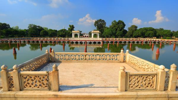 The Shalimar Gardens in Lahore, Pakistan, built in the mid-17th century.