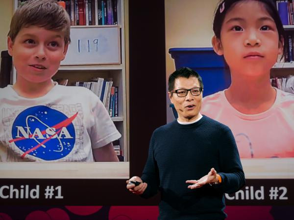 Kang Lee on the TED stage.
