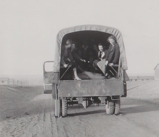 Trucks took internees from the train to Amache, outside Granada, Colorado.