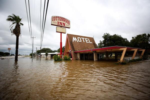 Flooding at the Cottonwood Inn Motel in La Grange, TX following Hurricane Harvey.