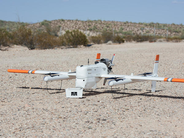 The HQ-40 drone, made by Tuscon, Ariz.-based Latitude Engineering, can carry samples for medical testing in a refrigerated container.