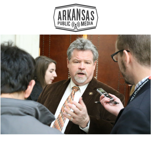 State Sen. Alan Clark (R-Lonsdale) faces reporters after he cast the necessary 27th vote in support of Gov. Asa Hutchinson's proposed Arkansas Works appropriation.