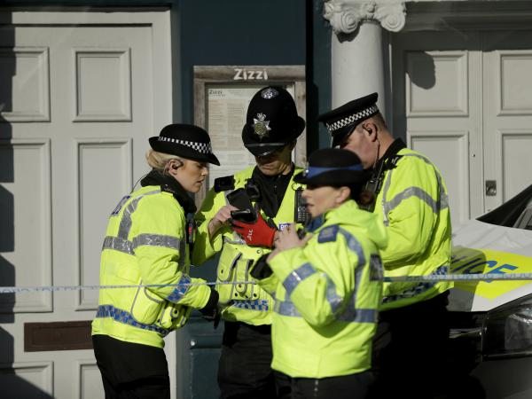 Police officers in Salisbury, England, near where former Russian double agent Sergei Skripal was found critically ill.