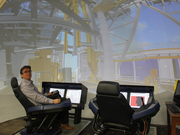 Professor Eric van Oort uses this 'virtual oil rig' to do research at the University of Texas at Austin. He helps advise companies on how to improve operations.