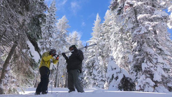 <p>Ben Thorpe (left) and Shavon Haynes measure the snowpack on Mt. Ashland.</p>