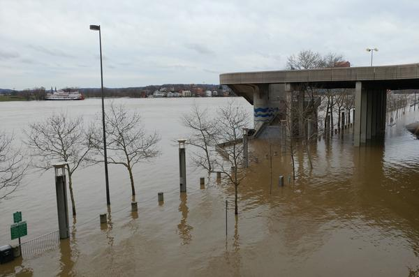 The Ohio River crested at 60.5 feet on February 25, covering parts of Mehring Way.