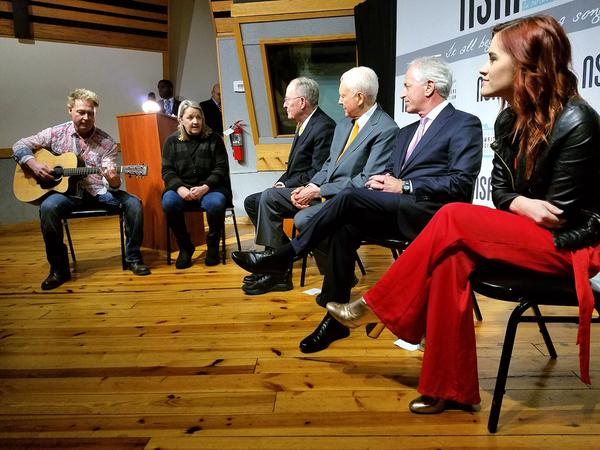 NSAI board members Danny Wells and Liz Rose perform for Sens. Lamar Alexander, Orrin Hatch and Bob Corker while songwriter Lacy Green looks on during a press conference to promote the Music Modernization Act.