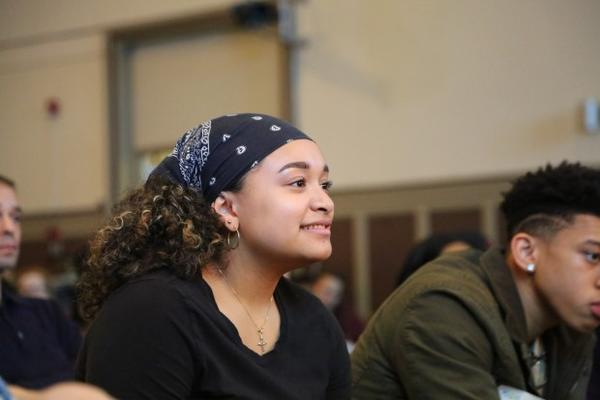 """<p>A high school student sits in the audience for a """"Think Out Loud"""" live show on race in education.</p>"""