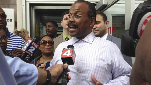 Ledura Watkins greets family and supporters following his 2017 release from the Wayne County Jail in Detroit. Watkins was convicted in 1976 of first-degree murder. Prosecutors are no longer confident in the hair evidence used to convict him. Western Michigan University-Cooley Law School's Innocence Project helped Watkins fight for his release. His conviction has been set aside.