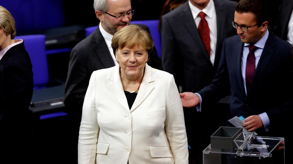 German Chancellor Angela Merkel during her election by the Bundestag for a fourth term as chancellor on Wednesday in Berlin.