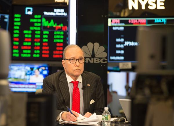 Conservative commentator and economic analyst Larry Kudlow speaks on CNBC's set at the New York Stock Exchange on March 8.