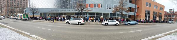 At the School for Creative and Performing Arts, students silently lined the entire block in front of their building for 17 minutes.