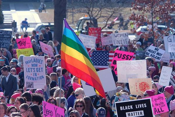 Demonstrators protest in support of LGBT rights during the January 2017 Women's March in Topeka.