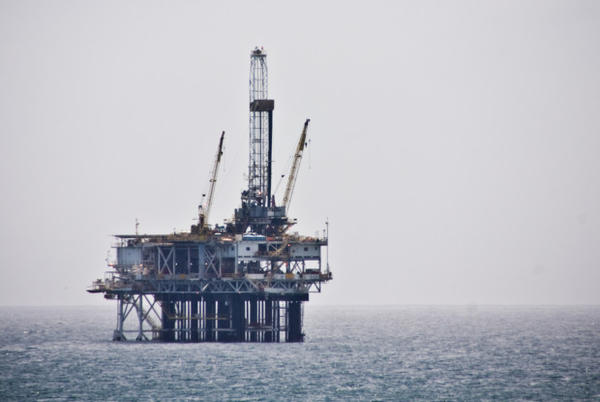 <p>An oil platform off the coast of Southern California.</p>