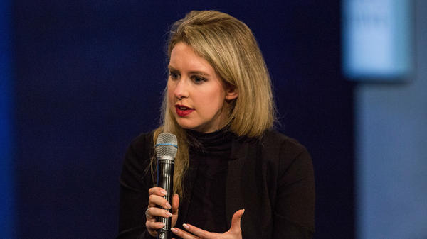 Elizabeth Holmes, founder and CEO of Theranos, speaks at the Clinton Global Initiative's closing session in 2015 in New York City. The SEC says Holmes and Theranos made exaggerated and false claims.