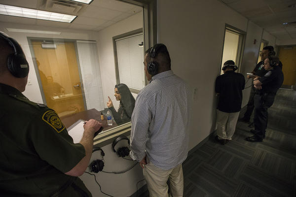 CBP trainees take part in advanced secondary questioning training. (Jesse Costa/WBUR)
