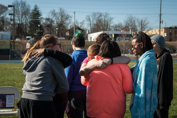 Students at Maplewood Richmond Heights hug after a school walkout to remember the victims of the Feb. 14 school shooting in Parkland, Florida.